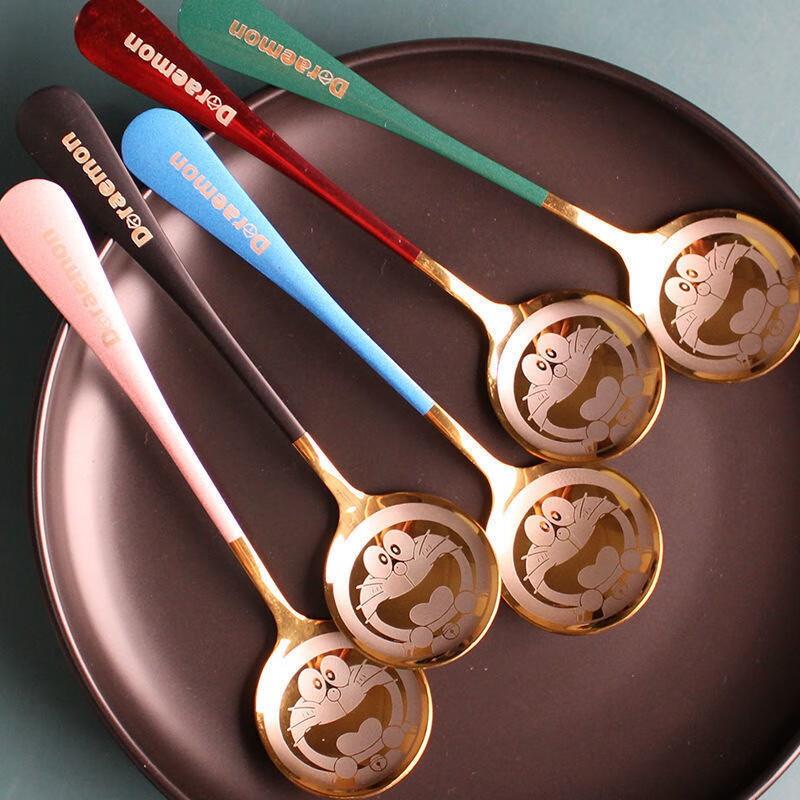 九鹿美兮 不锈钢勺子家用网红佳构勺创意ins韩式哆啦梦勺子 4个勺子(色彩随机)