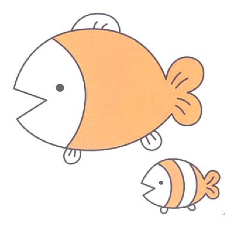幼儿画鱼涂色画