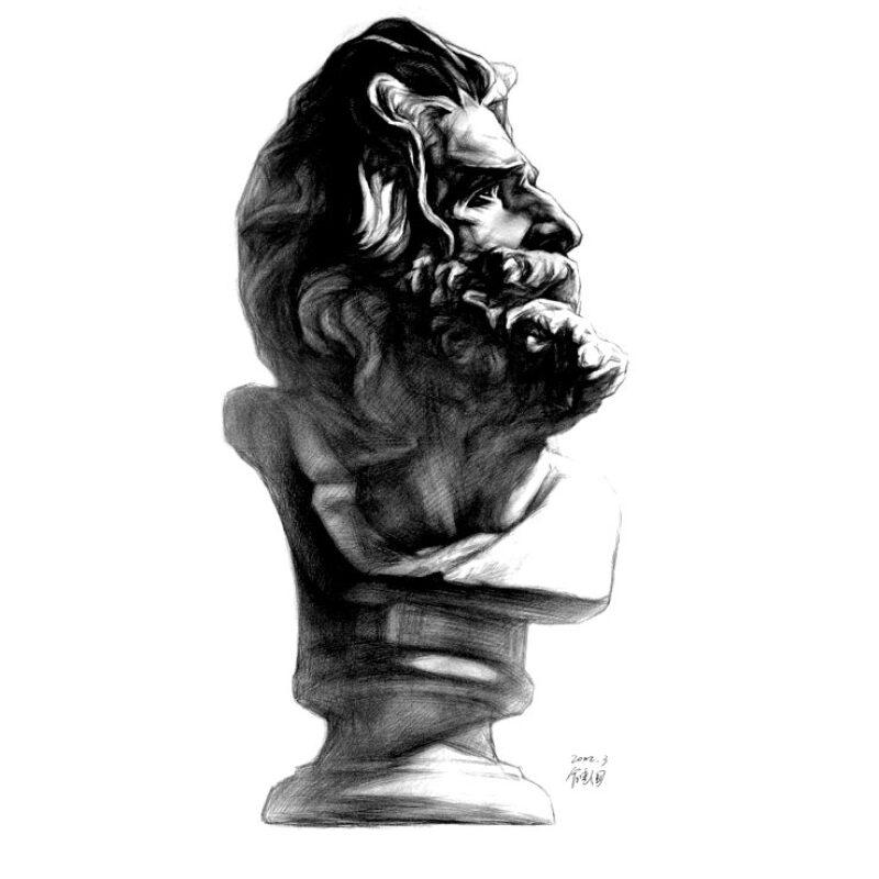 大卫侧面石膏像素描展示