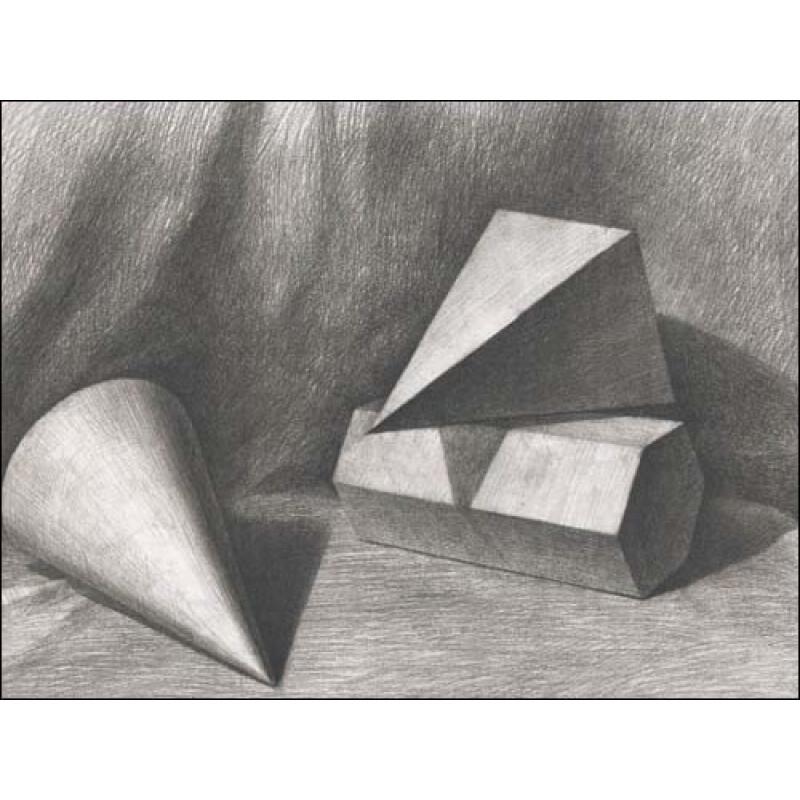 实物&画面结构明暗对比训练法:李胜利素描几何体