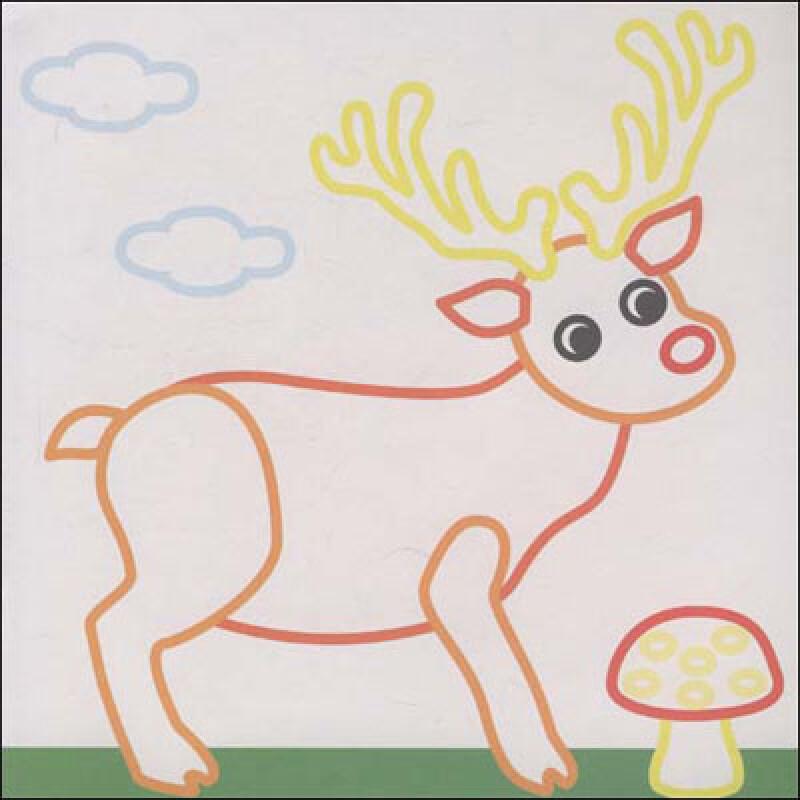 小孩抱动物手绘图