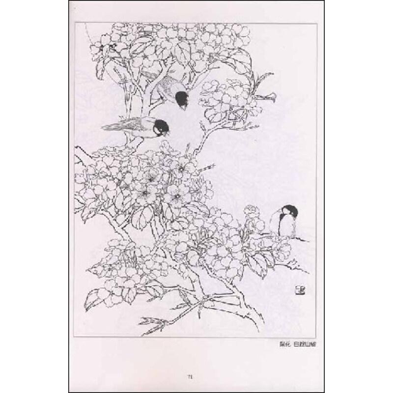 花,鸟,树,石组成的画面