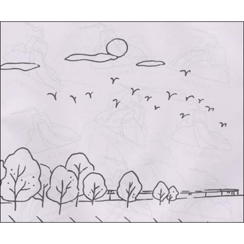 儿童画风车房子图片