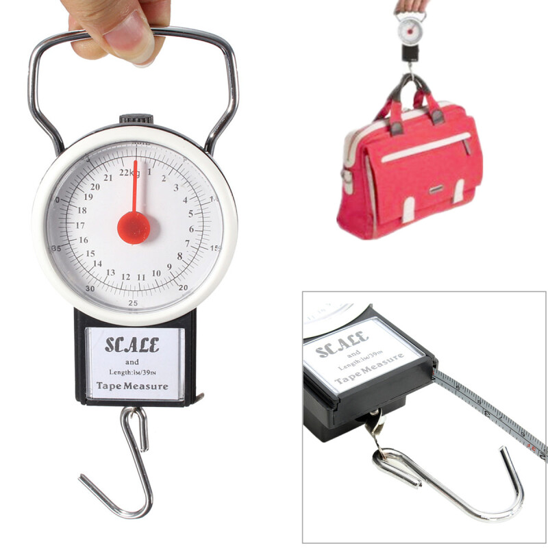 22kg 50lb Portable Weighing Hanging Scale Fishing Suitcase Luggage w/Measuring Tape - Electronic Scale - Joybuy.com
