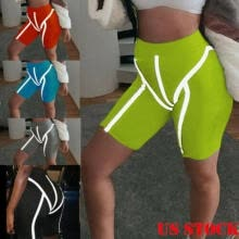 -US Women's Stretch Bike Shorts Workout Luminous Leggings Knee Length Short Pants on JD