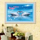 准印花十字绣 天鹅之吻 心心相印相亲相爱客厅卧室挂画 5D钻石画78图片