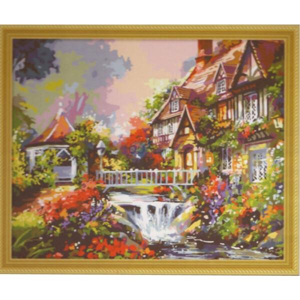 久久彩绘手绘数字油画-小桥流水图片