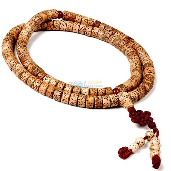 美琪藏式星月菩提108颗扁圆形佛珠-手链