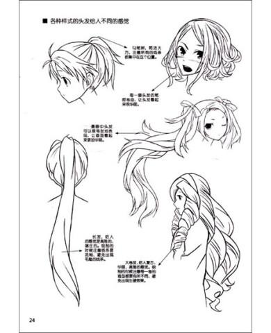 女生动漫人物头发画法