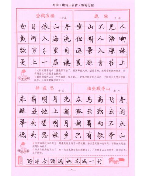 唐诗三百首钢笔字帖分享展示图片
