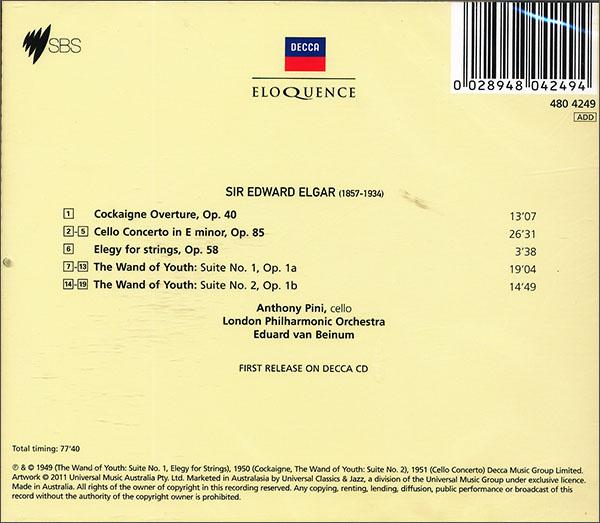 CD 爱德华 埃尔加大提琴协奏曲 CD 进口CD 音乐 京东JD.COM