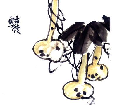 荷花鲤鱼 素描铅笔画