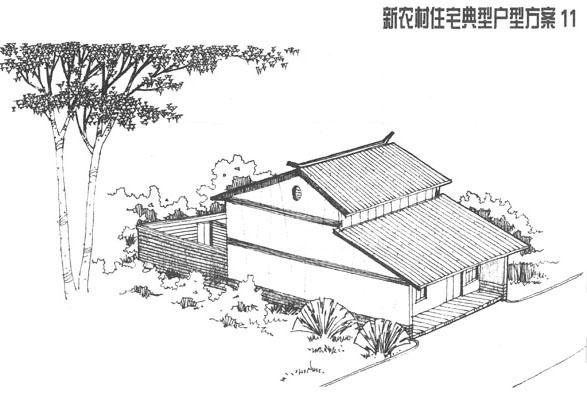 古代农村房屋手绘