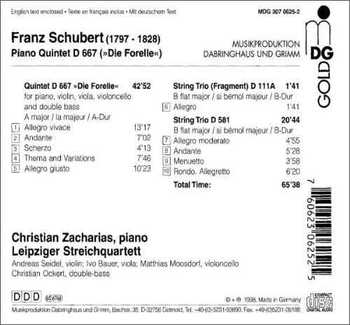 明达 舒伯特的(鳟鱼)钢琴五重奏(cd)