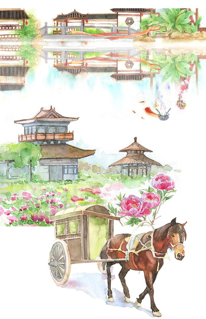 包邮 飞乐鸟的手绘旅行笔记 苏州 杭州 彩色铅笔简笔画图案绘画 色