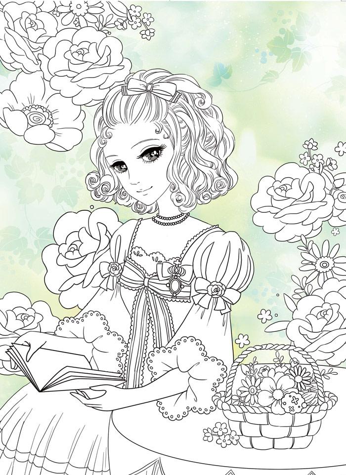 美少女涂色 宫廷公主 幼儿园早教启蒙 简笔画绘画涂色本 婴幼儿童书