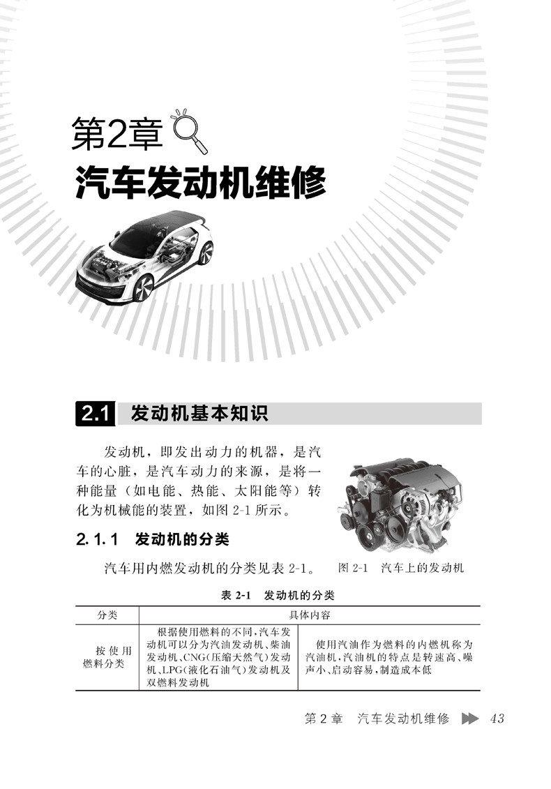 2 汽车安全操作 38第2 章汽车发动机维修  432.1 发动机基本知识 432.