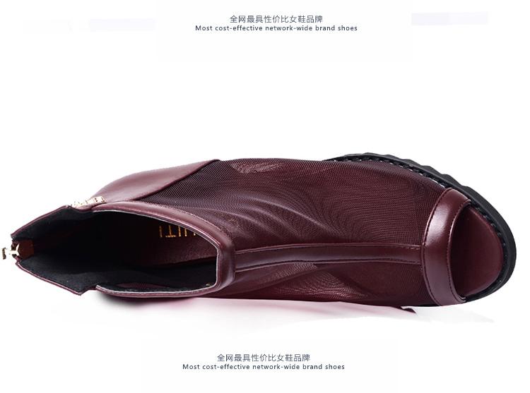 厚底系带镂空时尚坡跟鞋6901