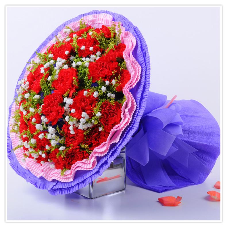 19枝粉色康乃馨高端礼盒包装
