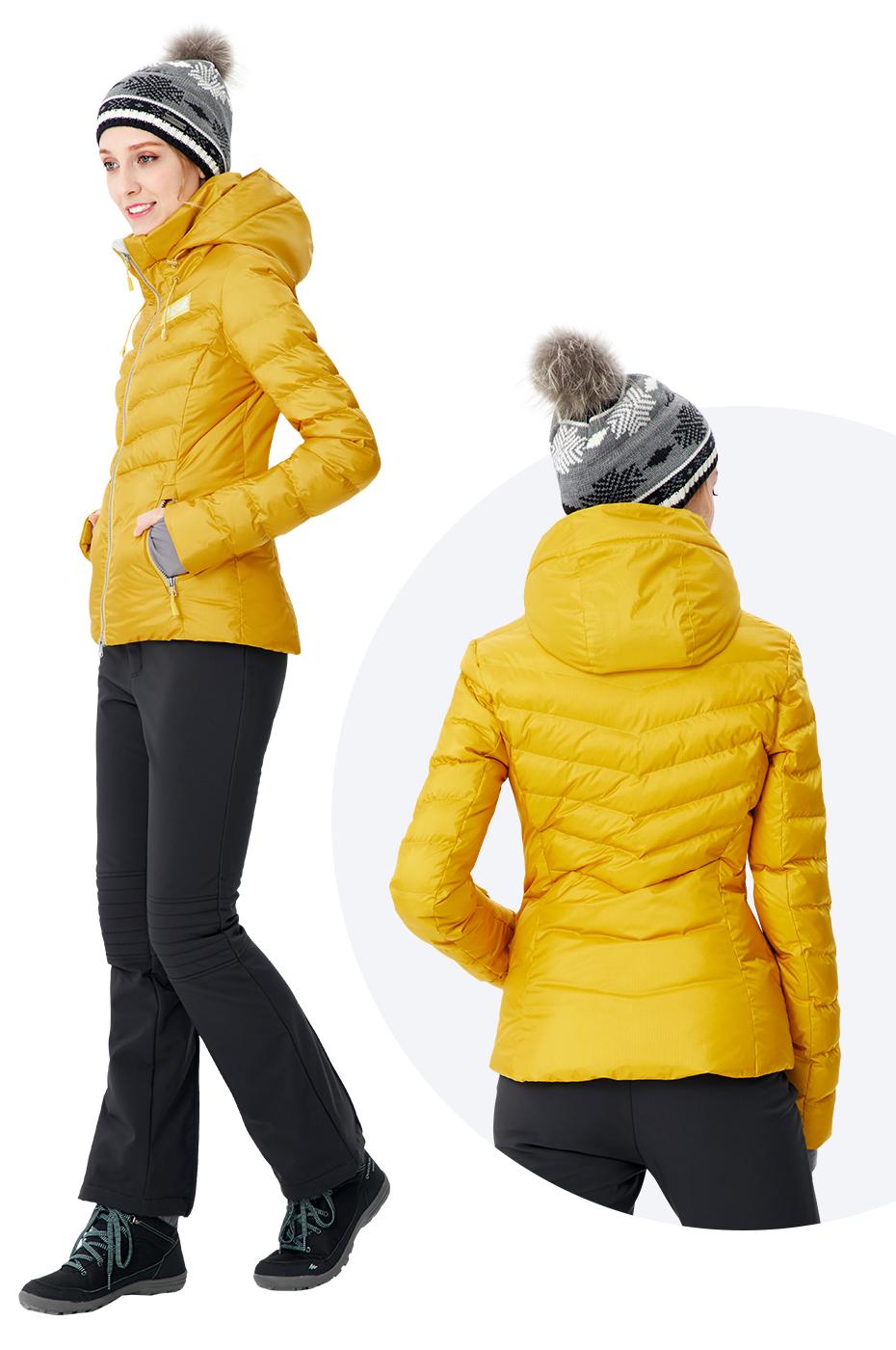 Running river奔流极限 女士户外时尚短款防水单双板加厚保暖滑雪服上衣棉服冬季D8162 灰色088 L