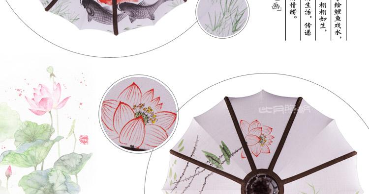 中式布艺灯笼新古典创意手绘画客户吊灯