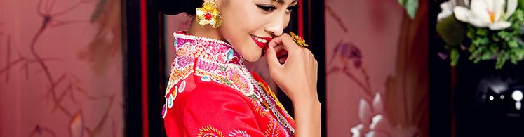 龙凤褂 头饰 凤冠新娘发簪 红色中式秀禾服合金套装 黄金五彩 潮汕图片