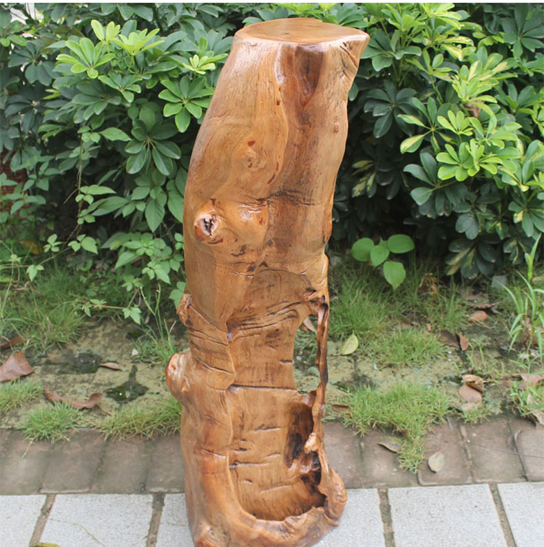 香樟木根雕花架