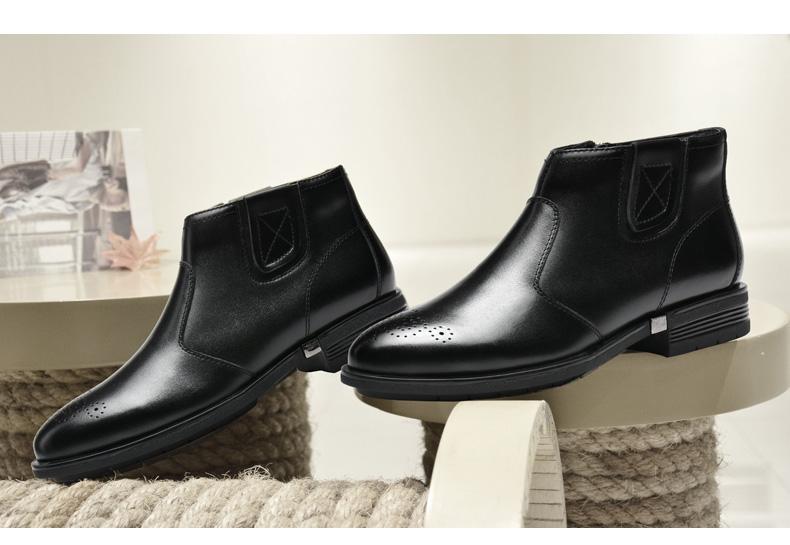 意大利枫叶(leaveland) 英伦风商务皮靴加绒真皮休闲男短靴棉鞋a4117图片