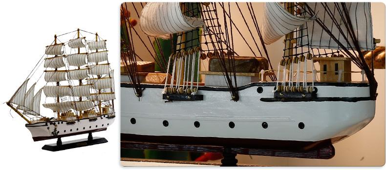纯手工制作 实木船模 地中海风格