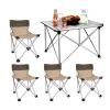 Гриль семьи (е-Ровер) Любовь поездка неторопливый уличные столы Мебель для пикника и стулья для наружных переносных кресел можно сложить пакет из алюминия (1 стол стул +4)