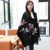 Shanghai Story (история SHANGHAI) г-ж осенью и зимой толстый шерстяной шарф платок вышивка ярко-красный цветок любимец