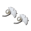 Luo Linglong s925 sterling silver earrings female ginkgo leaves natural pearl earrings decorated allergy simple temperament art luo linglong original s925 sterling silver earrings female song type triangle earrings earrings earrings temperament high end gift