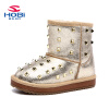 Hobibear Обувь для девочек зимние ботинки с заклепками теплая подкладка корова Разделение мода загрузки для Обувь для девочек