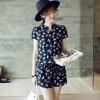 Lovaru ™Лето новый хан издание платье воротник кальян рукав мультфильм печати талии комбинезоны кальян 3д модель