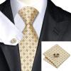 Н-0582 моде мужчины Шелковый галстук набор галстук Запонки платок желтый Новинка набор галстуков для мужчин формальных Свадебный бизнес оптом used 100% tesed a20b 2901 0582