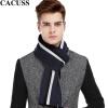 CACUSS Business collar men's scarves полосатый шерстяной шарф мужской толстый зимний теплый шарф коробка подарка W0034 темно-синий один размер cacuss w0038 чистый шерстяной шарф мужской теплый шарф подарочная коробка серый