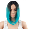Dalin HAIR Ombre Blue Wig Synthetic Hair Short Wigs for Black Women Bob Straight Hair