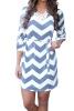 Lovaru ™новые женские летние платья в стиле мини Полосатый половины рукав шифона Прямо вскользь платье Удобная и естественный стиль