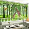 Пользовательские фото Обои для рабочего стола Зеленый лес Жираф 3D гостиной Диван Спальня Фон Настенная роспись Нетканые обои для стен 3 D