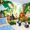 Пользовательские 3D обои настенные обои Мультфильм Животные Мир для детей Лев Слон Обезьяна Фото обои Детская мебель для спальни