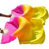 Шелковые поклонники танца живота Природные шелковые Женские танцы животаТанцевальный шелк Королевская роза+оранжевый+желтый павлово посадский шелк