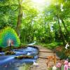 Обои для рабочего стола 3D Лесной павлин Деревянный мост Природа Пейзаж Фото Настенные обои Гостиная Телевизор Диван-фон Стена Картина пользовательские обои фрески 3d hd лесной рок водопад фотография фон стена картина гостиная диван фото mural обои