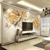 Пользовательские обои 3D-фото Роскошные европейские золотые украшения Роза Цветочная бабочка Фон Настенная роспись Home Decor Обои