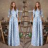Lovaru ™2015 долго макси платье новой моды печати женщины Половина рукава платья лета Установить и вечернее платье Удобный и элегантный стиль платье maurini платья и сарафаны приталенные