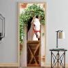 Фотообои 3D Stereo White Horse Mural Door Sticker DIY Home Decor PVC Self Adhesive гостиная Спальня наклейка 77cmx200cm creative mural chinese horse to success