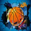Пользовательские обои 3D-фото Современный простой баскетбол Сломанная стена Плакат Граффити Художественная роспись стены Нетканая роспись обоев