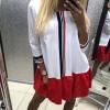 Lovaru ™ 2017 Осеннее платье Red White Stitching Women Sweet Loose Dress Три четверти девушки Preppy Style Mini Dresses