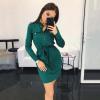 Lovaru ™ Осеннее платье Женщины Зеленые красные карманы Офисная дама с длинным рукавом Кнопки Женские прямые мини-платья