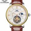 Мужская Top Brand Luxury Tourbillon Автоматические механические часы Мужская повседневная кожаный ремешок из кожи Скелет
