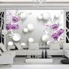 Современный простой 3D стерео рельеф Фиолетовый Calla Lily Flower Mural Обои Гостиная Спальня Романтический декор Стена Картина Фреска миска lily flower g2286 h4266